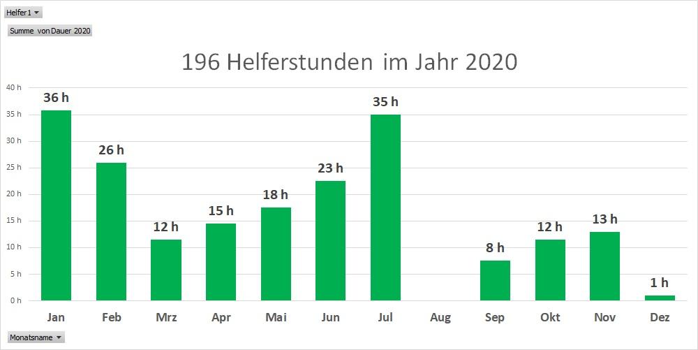 Helferstunden pro Monat 2020